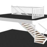 Tät vitmålad L-trappa med underliggande vang, steg i lackad ek, sidovang och räckei vitmålat utförande.